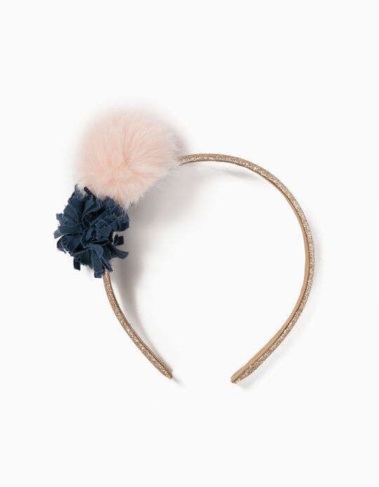 Golden Alice Band with Pompom and Flower