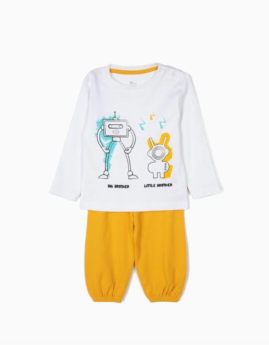 Pijama para Bebé Menino 'Robots', Branco e Amarelo