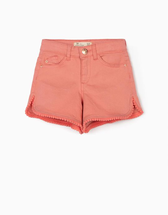 Shorts with Pompoms for Girls, Pink