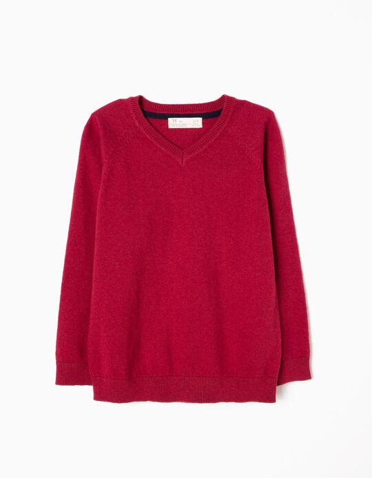 Camisola de Malha Fina Vermelho Escuro