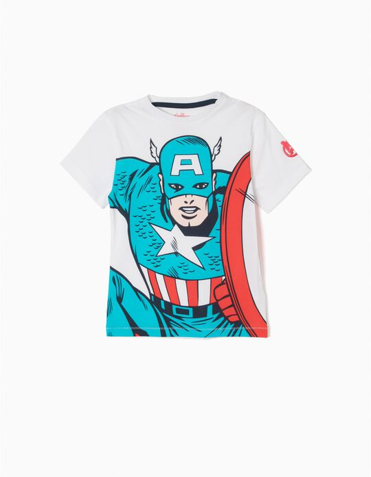 T-shirt Captain America Branca
