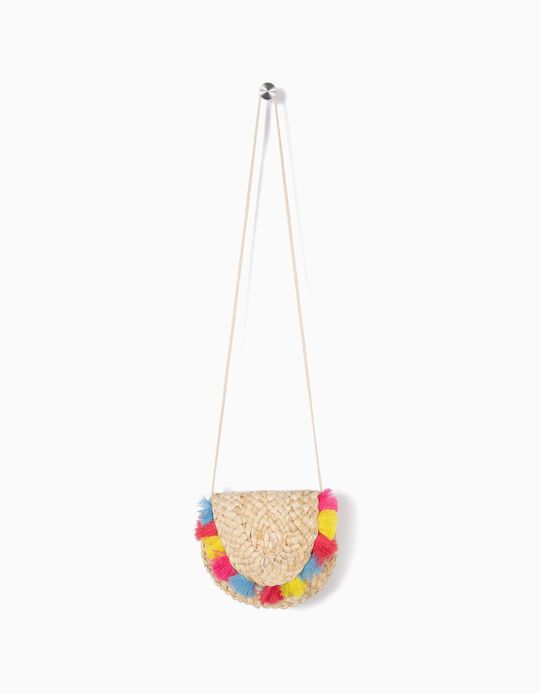 Crossbody Bag with Colourful Tassels for Girls, Beige