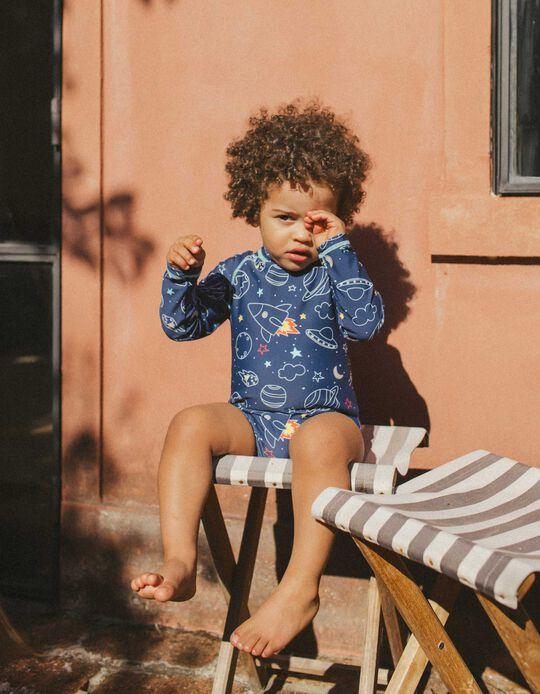 Romper Swimsuit for Baby Boys, UPF 80, Dark Blue