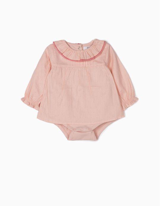Bodysuit-Blouse for Newborn Girls 'Dots', Light Pink