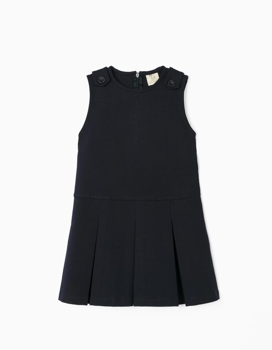 Vestido com Pregas para Menina, Azul Escuro