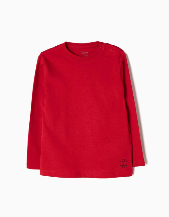 Long-Sleeved Basic Top, Red