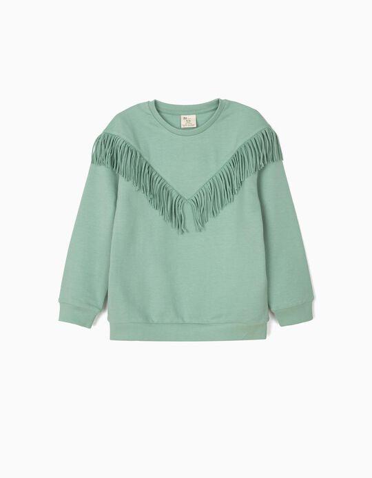 Sweatshirt para Menina com Franjas, Verde