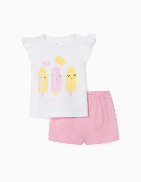 Pyjamas for Baby Girls, 'Ice Cream', White/Pink