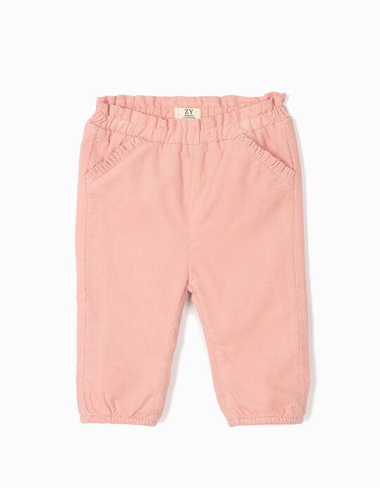 Corduroy Trousers for Newborn Girls, Pink