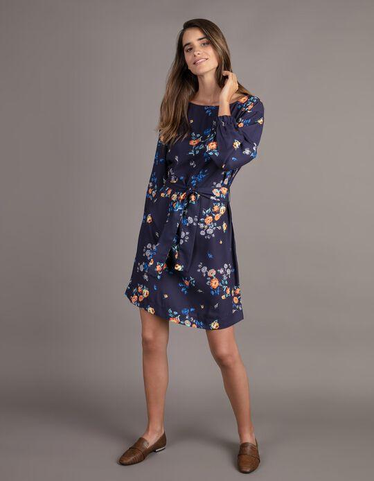 Vestido midi com padrão florido