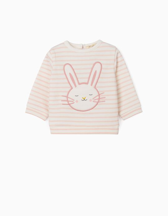 Sweatshirt para Recém-Nascida 'Cute Bunny', Rosa/Branco