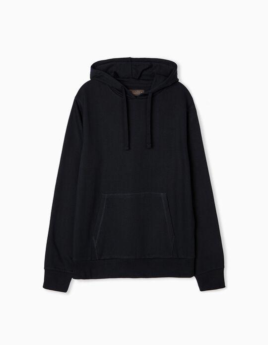Hooded Basic Sweatshirt, Men, Dark Blue