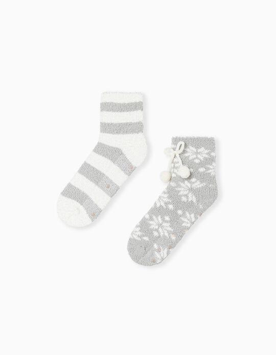 2 Pairs Non-Slip Socks, White