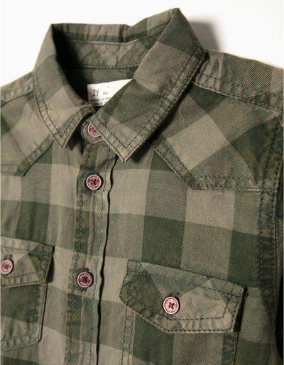 Camisa quadrados verde azeitona