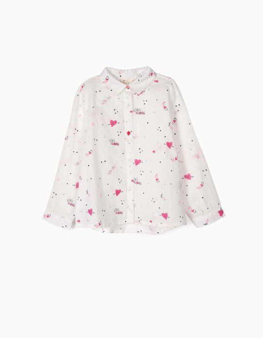 Camisa para Menina 'Girl Gang', Branco e Rosa