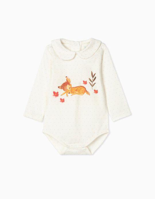 Bodysuit for Newborn Baby Girls, 'Bambi', White