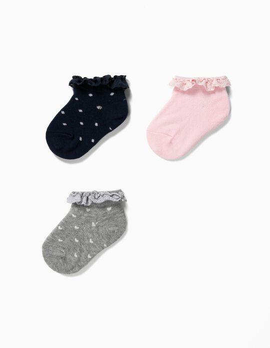 3 Pares de Meias Curtas para Bebé Menina com Renda, Multicolor