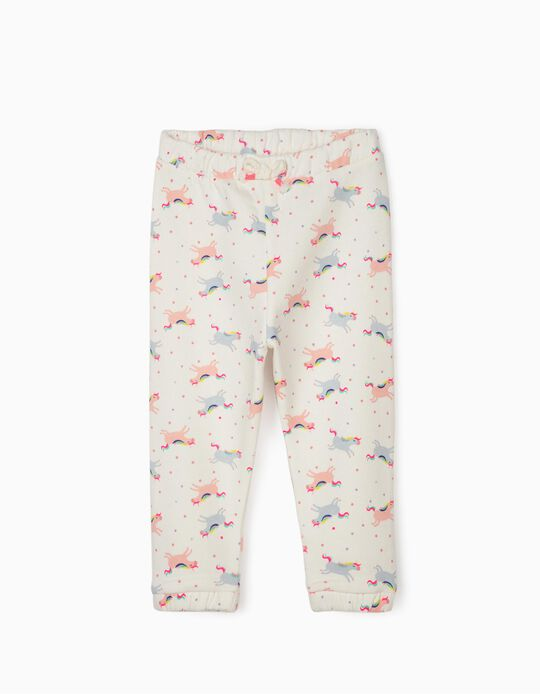 Joggers for Baby Girls 'Unicorns', White