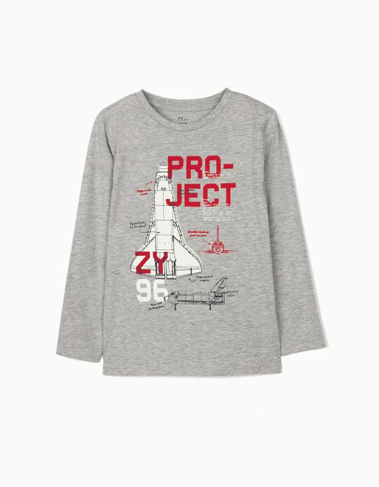 Long Sleeve Top for Boys, 'Space Project', Grey