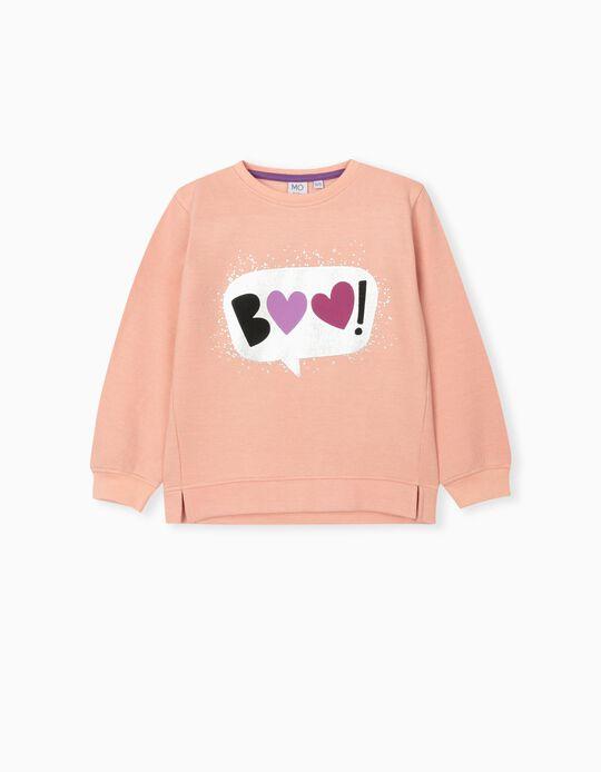Hearts Print Sweatshirt, Girls, Light Pink