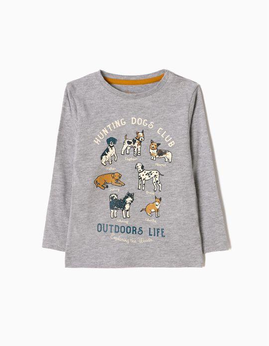 T-shirt Manga Comprida Dogs Cinzenta