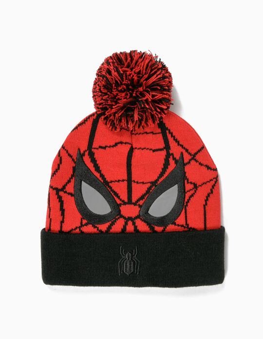 Beanie for Boys, 'Spider-Man', Red/Black