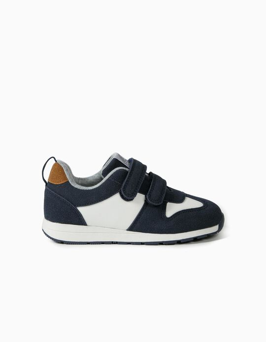 Trainers with Touch Fastening Tabs for Boys, Dark Blue/White