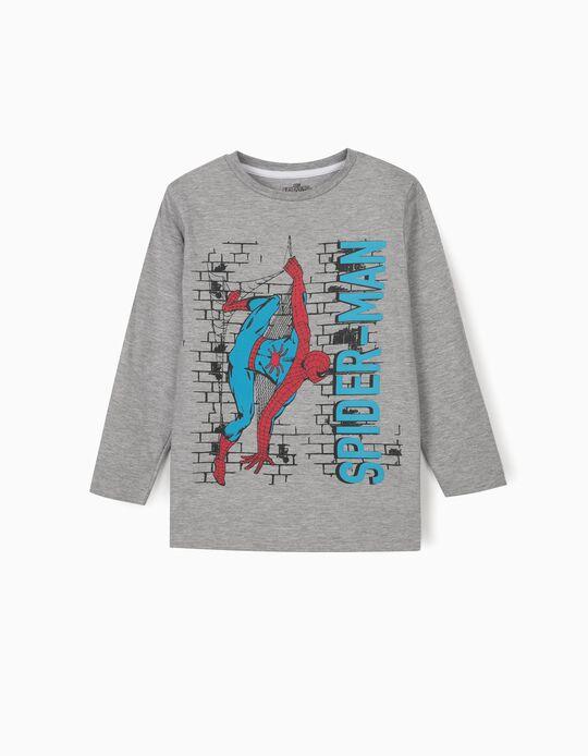 T-shirt Manga Comprida para Menino 'Spider-Man', Cinza