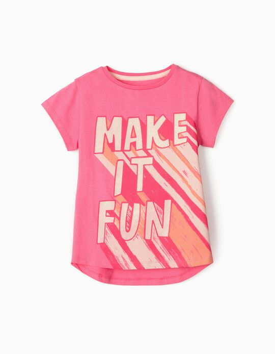 T-shirt for Girls, 'Make It Fun', Pink