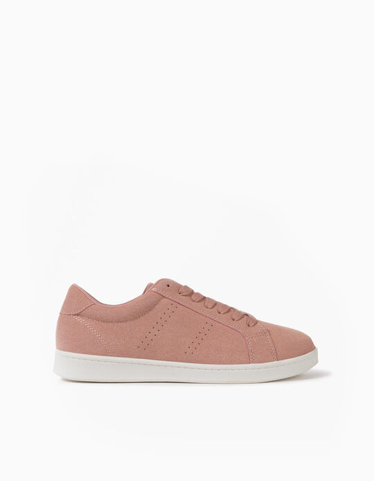 Pink Suedette Trainers, for Women