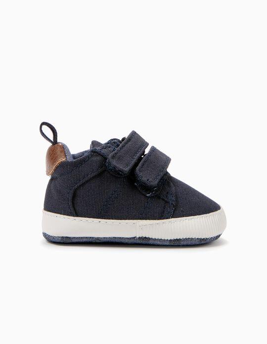 Sapatilhas para Recém-Nascido com Duplo Velcro, Azul Escuro