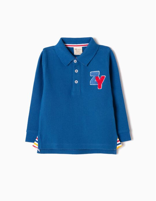 Blue Long-Sleeved Polo Shirt, ZY 96