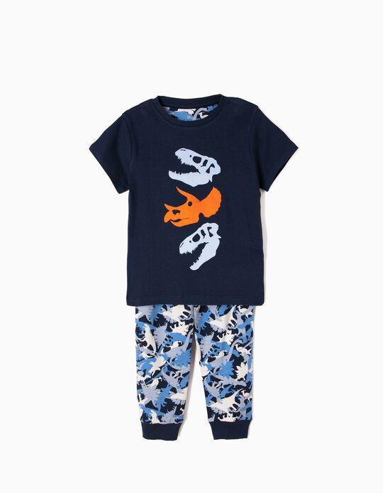 Pijama Manga Curta e Calças Dinossauros