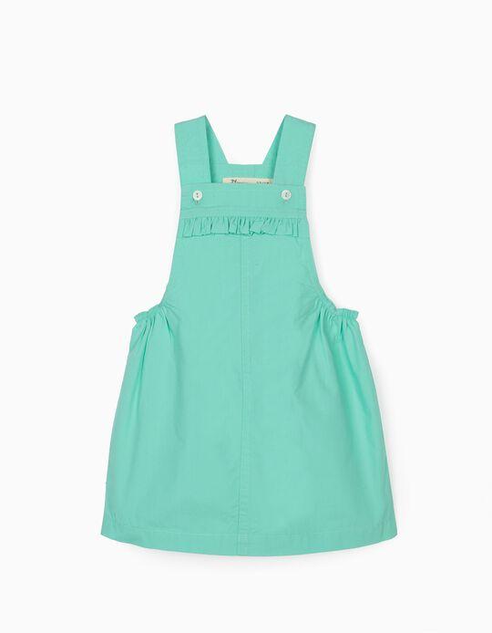 Pinafore Dress for Baby Girls, Aqua Green