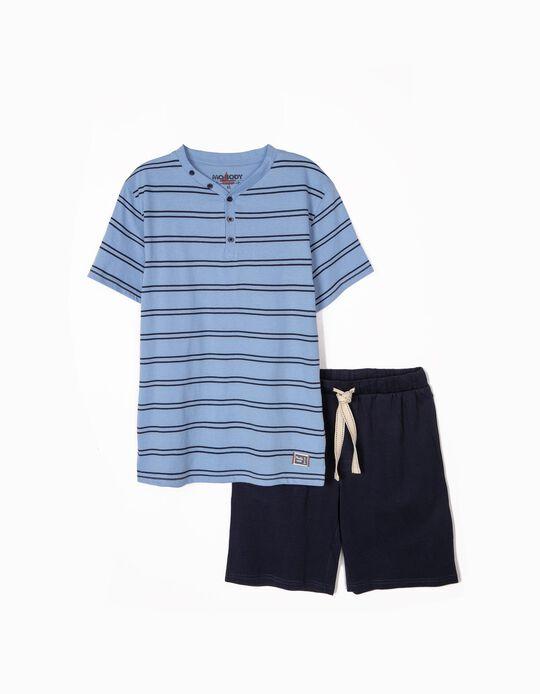 Pijama bicolor às riscas