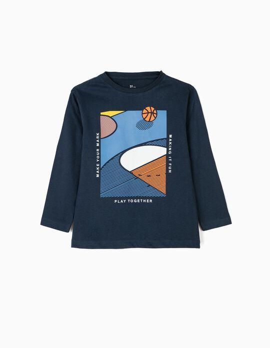 T-shirt Manga Comprida para Menino 'Basketball', Azul Escuro