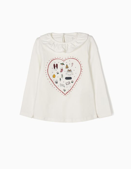 T-shirt Manga Comprida Christmas Heart Branca