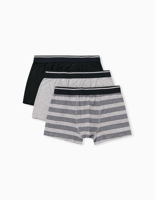 3 Pairs of Boxer Shorts for Men, Grey/ Dark Blue