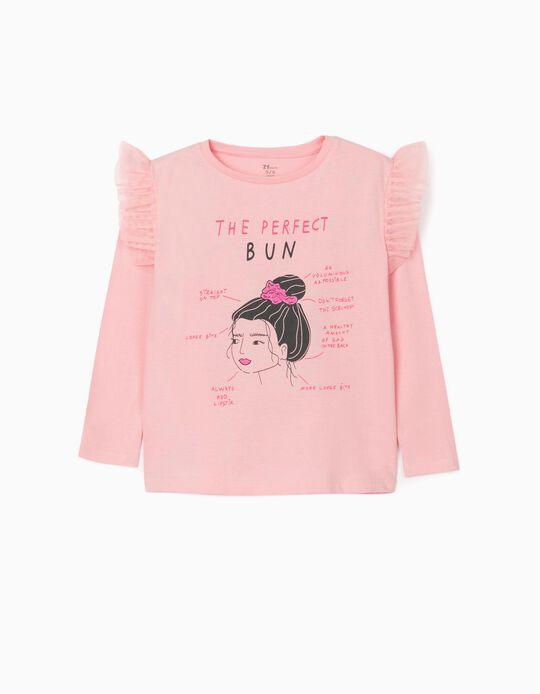 Long Sleeve Top for Girls 'Bun', Pink