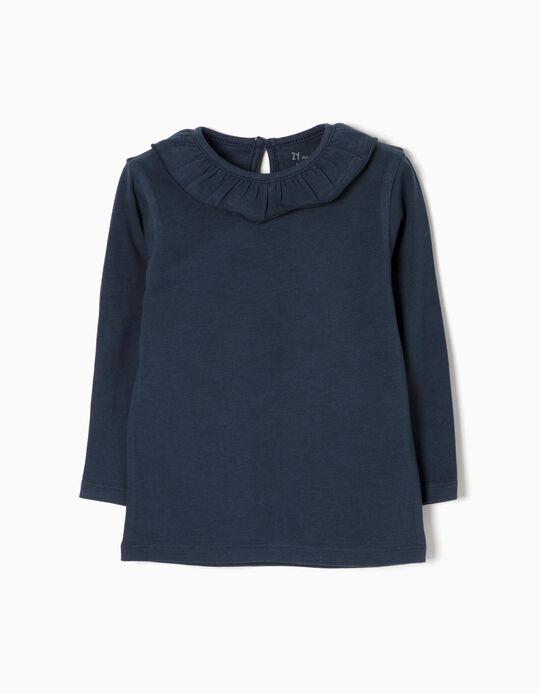 T-shirt Manga Comprida para Bebé Menina com Folho, Azul Escuro