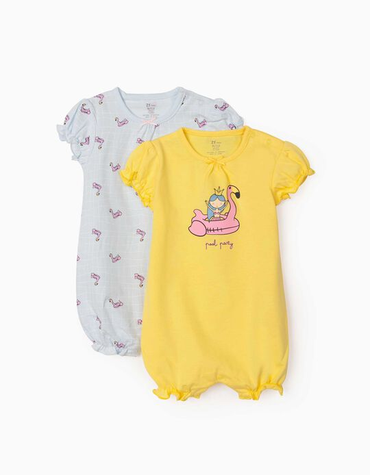 2 Short Sleeve Sleepsuits for Baby Girls, 'Pool Party', Yellow/Light Blue