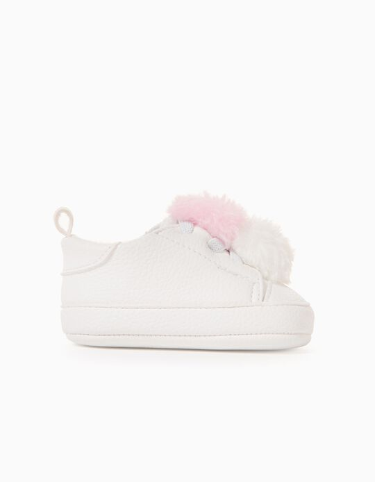 Trainers for Newborn Baby Girls 'Pompom', White/Pink