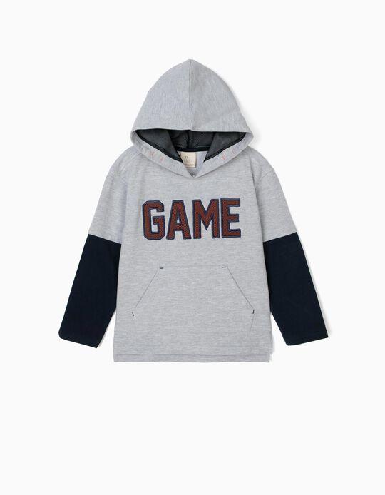 Sweatshirt com Capuz para Menino 'Game', Cinza e Azul