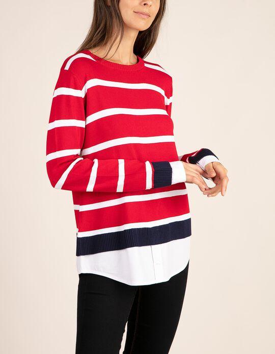 Camisola bicolor às riscas com bordado com acabamentos em camisa