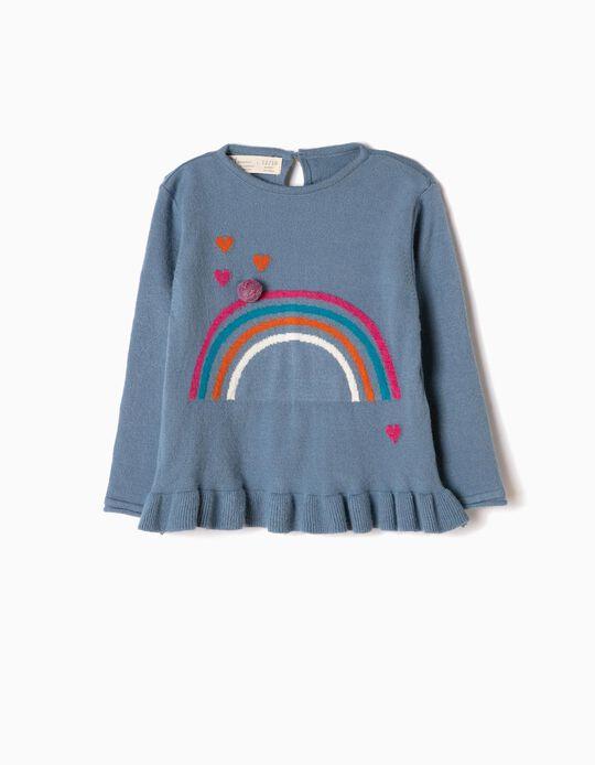 Camisola de Malha Azul Arco-Íris