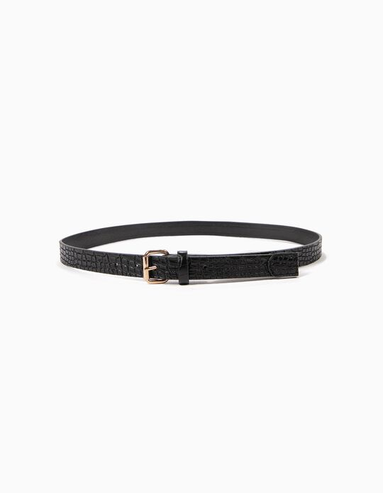 Black Crocodile-Effect Belt