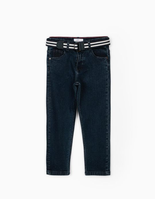 Denim Trousers for Boys, with Belt, Dark Blue