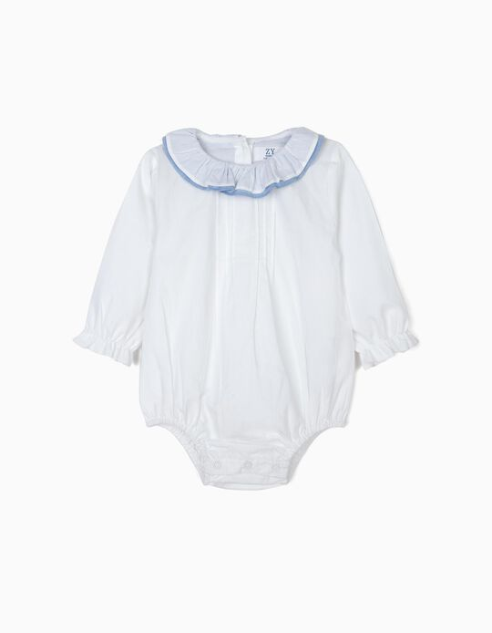 Blouse-Bodysuit with Ruffles for Newborn Babies, White