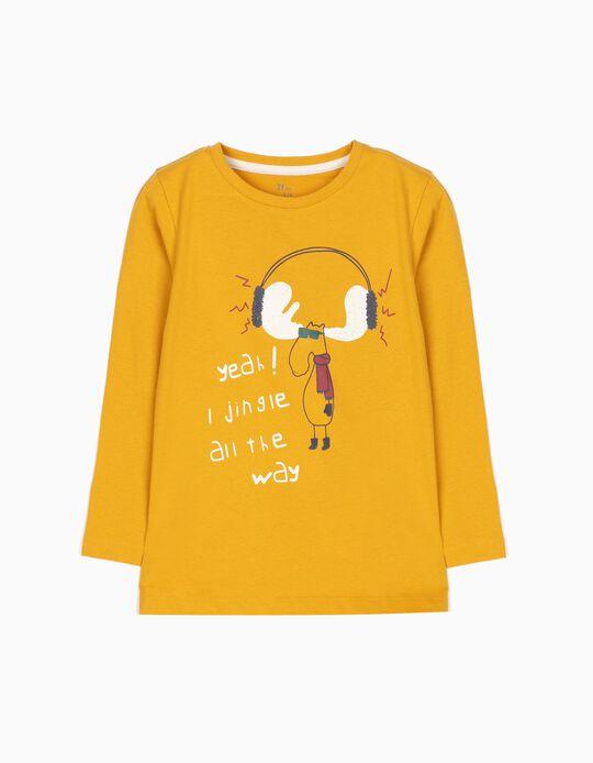 T-shirt Manga Comprida Jingle All the Way Amarela