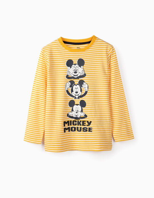Long-sleeve t-shirt for Boys 'Mickey', White and Yellow